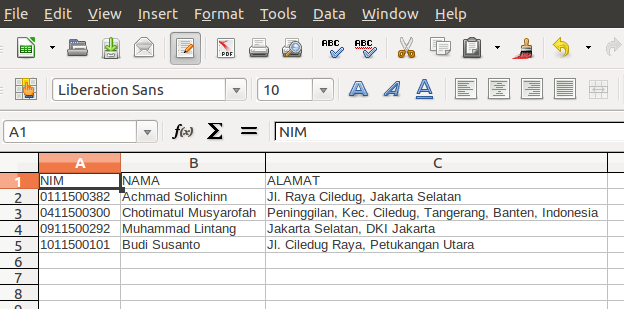 Tampilan File Excel Hasil Program 2