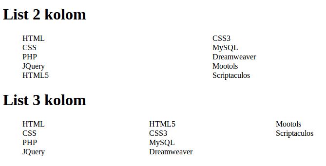 Gambar 3: Tampilan List Multi Kolom dengan CSS 3