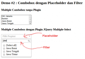 Contoh Demo 2: JQuery Multiple-Select dengan Placeholder dan Filter